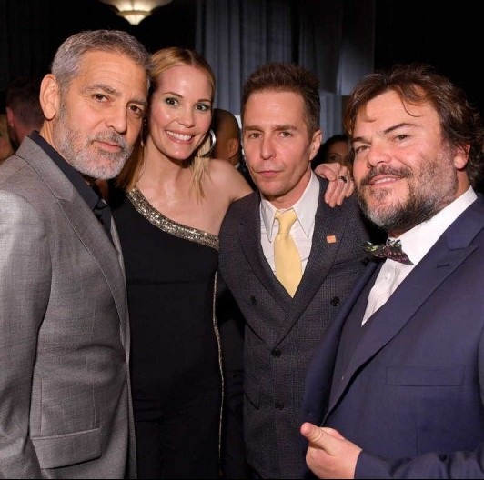 "(L-R) George Clooney, Leslie Bibb, Sam Rockwell, and Jack Black attend  MPTF's ""The Night Before"" The Oscars at Fox Studio Lot on March 3"