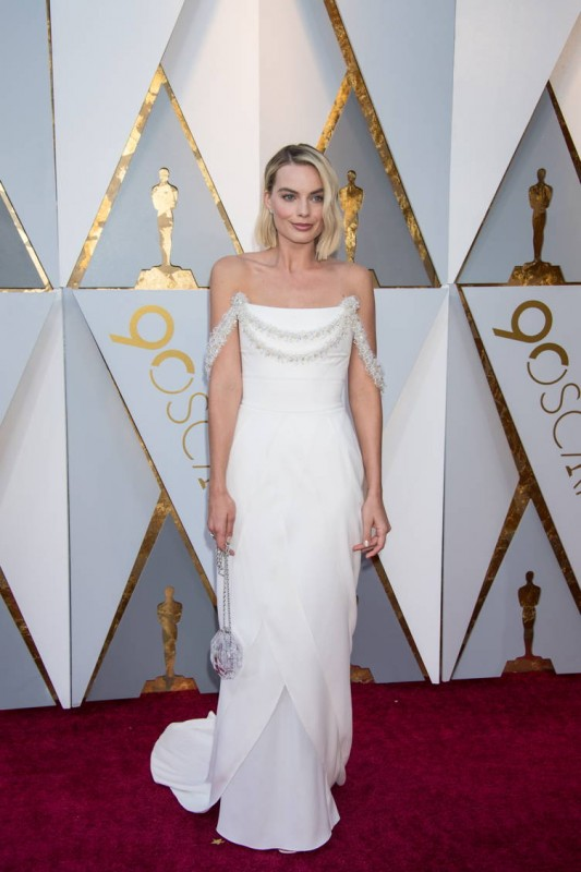 Oscar® nominee for Best Actress, Margot Robbie arrives on the red carpet of The 90th Oscars®