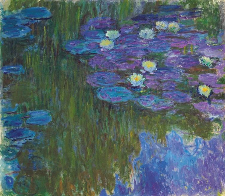 Claude Monet Nymphéas en fleur stamped with signature 'Claude Monet' (on the reverse) Oil on canvas