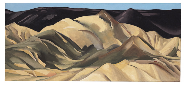 Georgia O'Keeffe Near Abiquiu, New Mexico signed with initials 'OK' in artist's star device (on the backing board) Oil on canvas