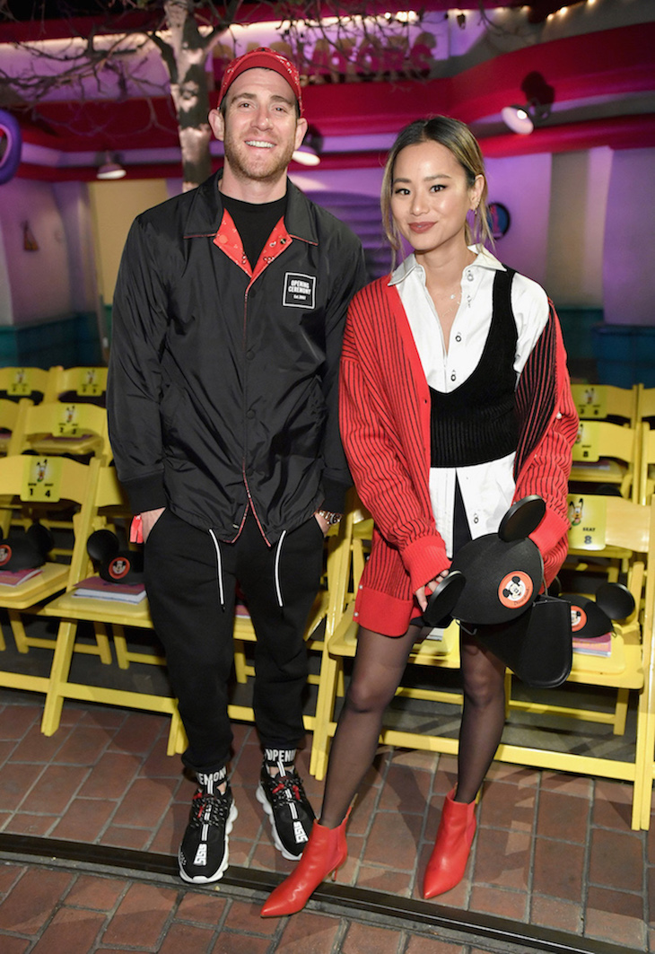 "ANAHEIM, CA - MARCH 07: Bryan Greenberg (L) and Jamie Chung attend the launch of ""Mickey the True Original"" campaign in celebration of Mickey's 90th anniversary with a fashion show featuring a Mickey-inspired collection by Opening Ceremony at Disneyland on March 7, 2018 in Anaheim, California. (Photo by Neilson Barnard/Getty Images for Disney)"