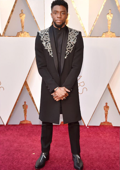 Chadwick Boseman in Givenchy haute couture at the 90th Academy Awards