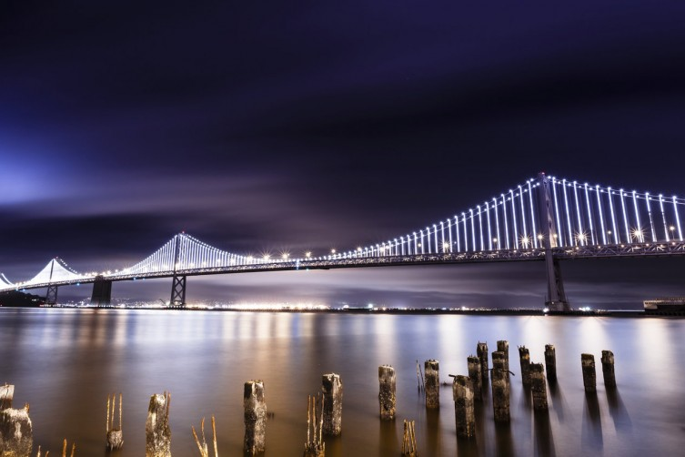 San Francisco-Oakland Bay Bridge illuminated at night