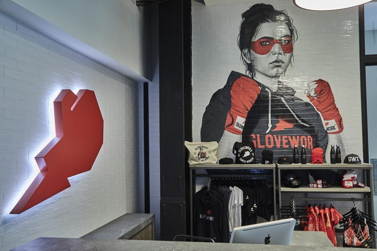 interior photos of the new Century City Gloveworx location