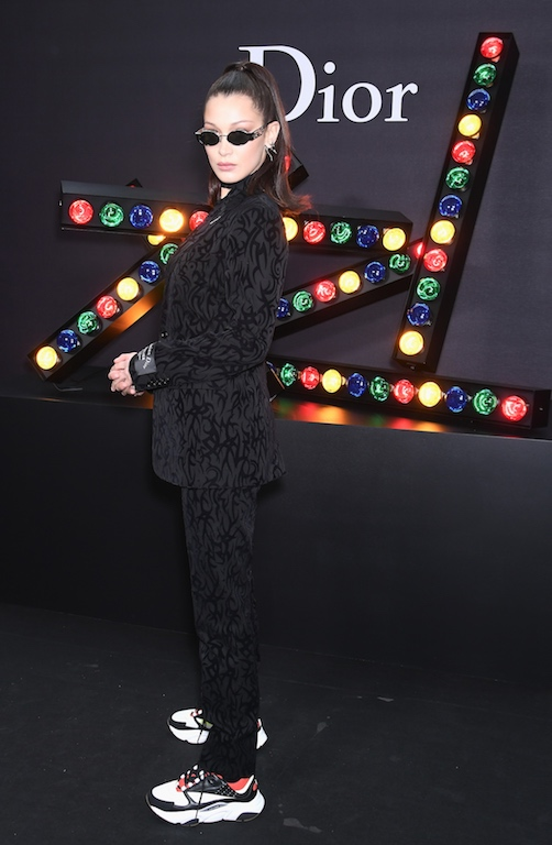 Bella Hadid wearing the Dior Homme B22 Sneaker