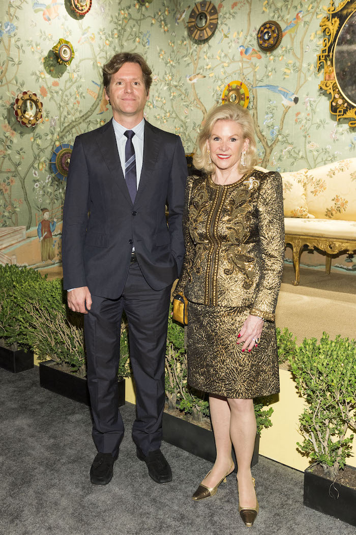 Trevor Traina and his mother, Dede Wilsey, at The San Francisco Fall Art & Antiques Show on October 25, 2017