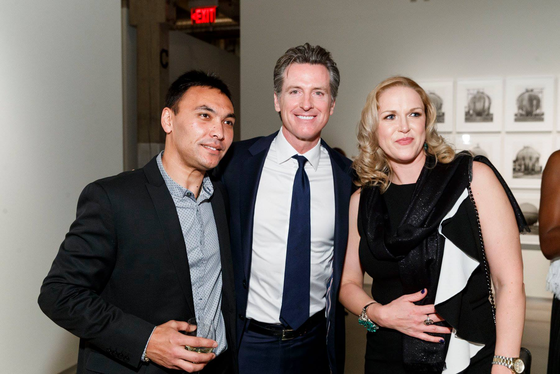Akram Zakhidov, Gavin Newsom, Yulia Pantyukhova (Photo-Drew Altizer)