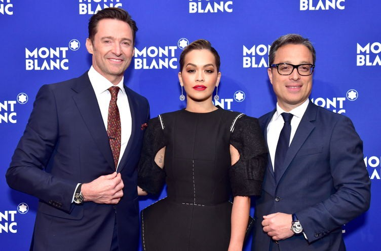Hugh Jackman, Rita Ora and Nicolas Baretzki attend the Montblanc Meisterstuck Le Petit Prince event at One World Trade Center Observatory on April 4