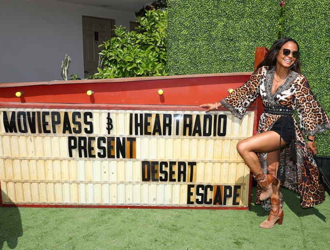 Christina Milian poses for a photo at the MoviePass x iHeartRadio Festival Chateau at The Chateau at Lake La Quinta on April 13