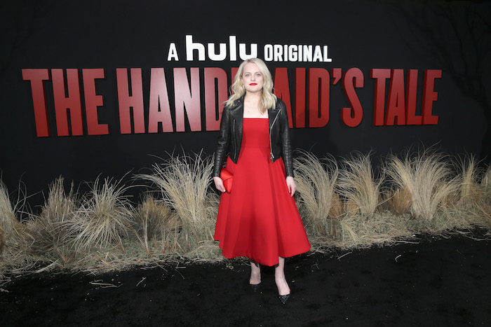 "Elisabeth Moss attends the premiere of Hulu's ""The Handmaid's Tale"" Season 2 at TCL Chinese Theatre on April 19, 2018 in Hollywood, California."