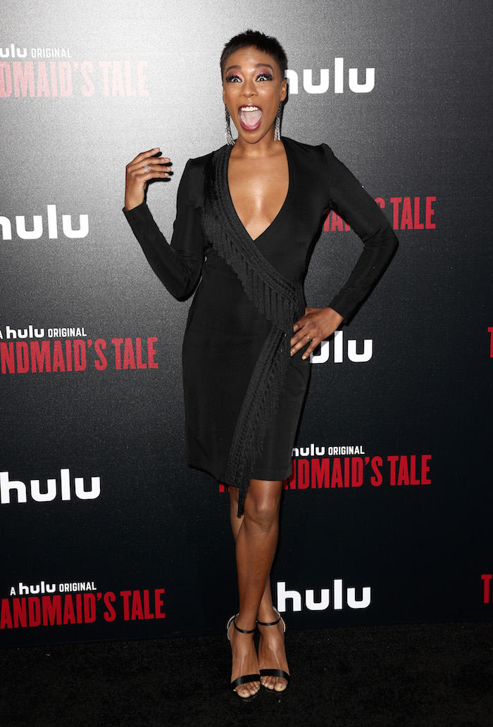 "Samira Wiley attends the premiere of Hulu's ""The Handmaid's Tale"" Season 2 at TCL Chinese Theatre on April 19, 2018 in Hollywood, California."