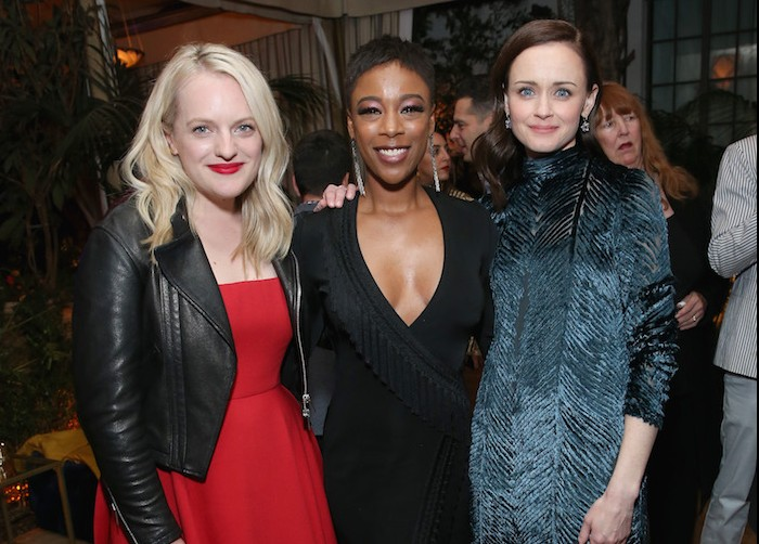 "LOS ANGELES, CA - APRIL 19:  (L-R) Elisabeth Moss, Samira Wiley, and Alexis Bledel attend the premiere of Hulu's ""The Handmaid's Tale"" Season 2 at Chateau Marmont on April 19, 2018 in Los Angeles, California.  (Photo by Phillip Faraone/Getty Images for Hulu)"