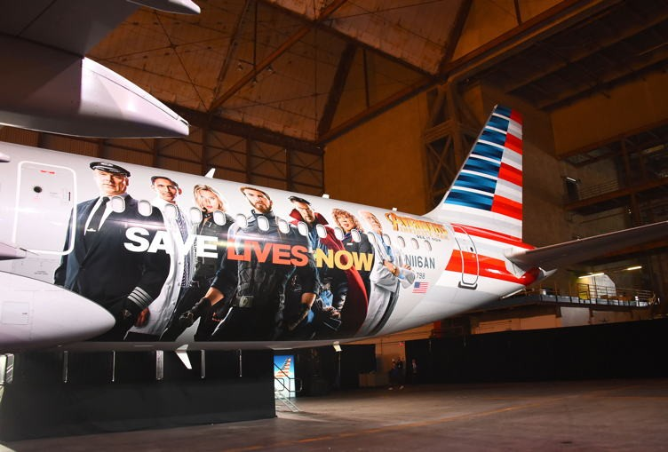 "American Airlines Debuts ""Avengers: Infinity War"" Plane At LAX"