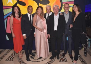 Sandra Ripert, John Legend, Chrissy Teigen, Eric Ripert, Richard Gere, Jean Reno and Zofia Borucka attends City Harvest's 35th Anniversary Gala at Cipriani 42nd Street on April 24, 2018 in New York City.