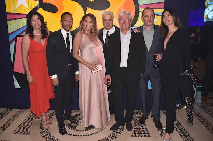Sandra Ripert, John Legend, Chrissy Teigen, Eric Ripert, Richard Gere, Jean Reno and Zofia Borucka attends City Harvest's 35th Anniversary Gala at Cipriani 42nd Street on April 24, 2018 in New York City.