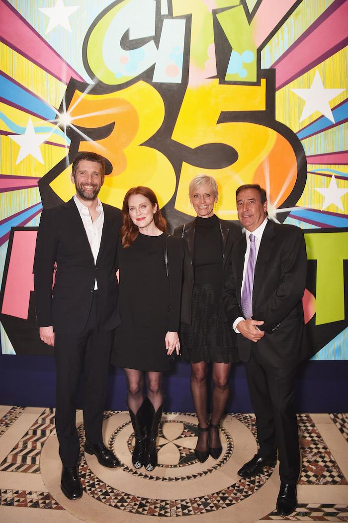 Bart Freundlich, Julianne Moore, Jessica Koenigsberg and Bill Koenigsberg attend City Harvest's 35th Anniversary Gala at Cipriani 42nd Street on April 24, 2018 in New York City.
