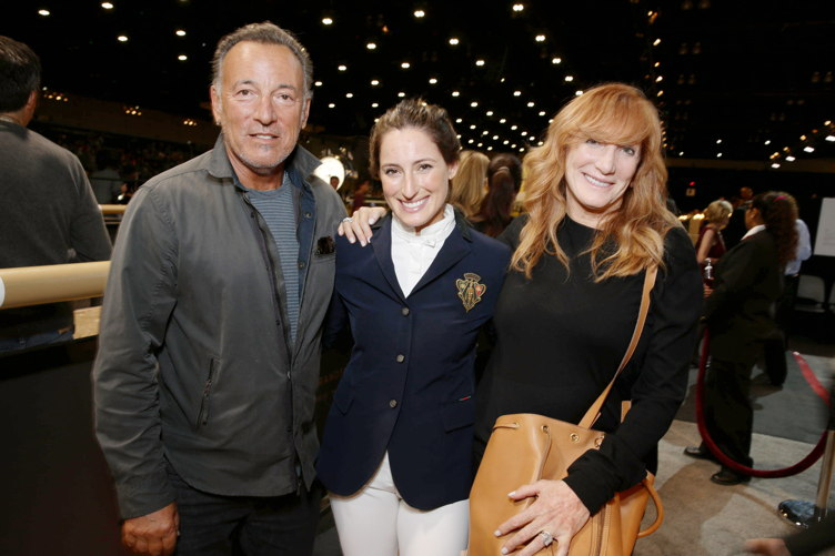 Jessica Springsteen poses with parents Bruce Springsteen and Patti Scialfa at the Longines Masters