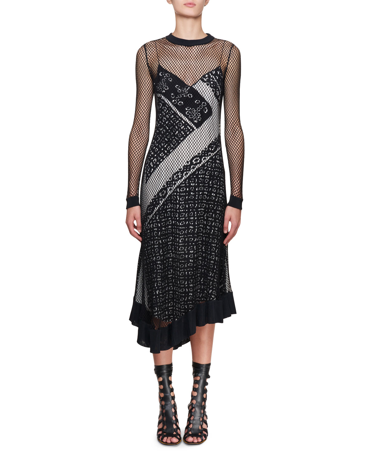 Altuzarra's Kleber fishnet long-sleeve bandana-print midi dress