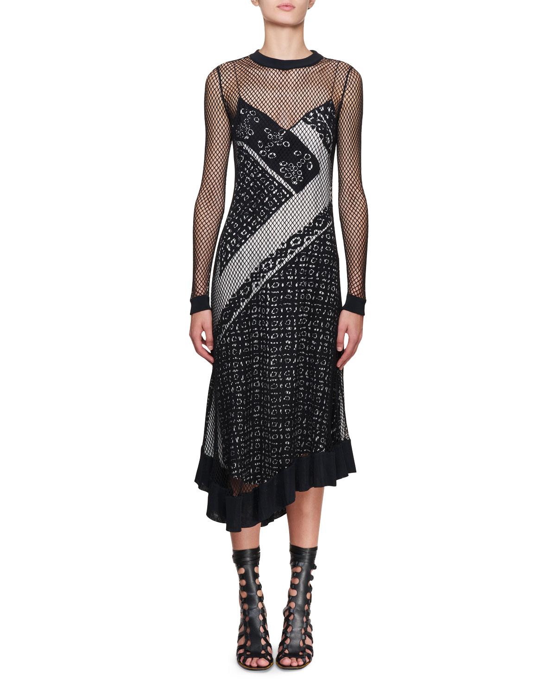 Altuzarra's Kleber fishnet long-sleeve bandana-print midi dress