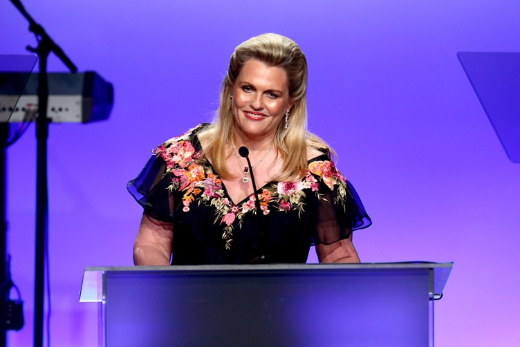 Nancy Davis speaks onstage during the 24th Annual Race To Erase MS Gala at The Beverly Hilton Hotel on May 5, 2017