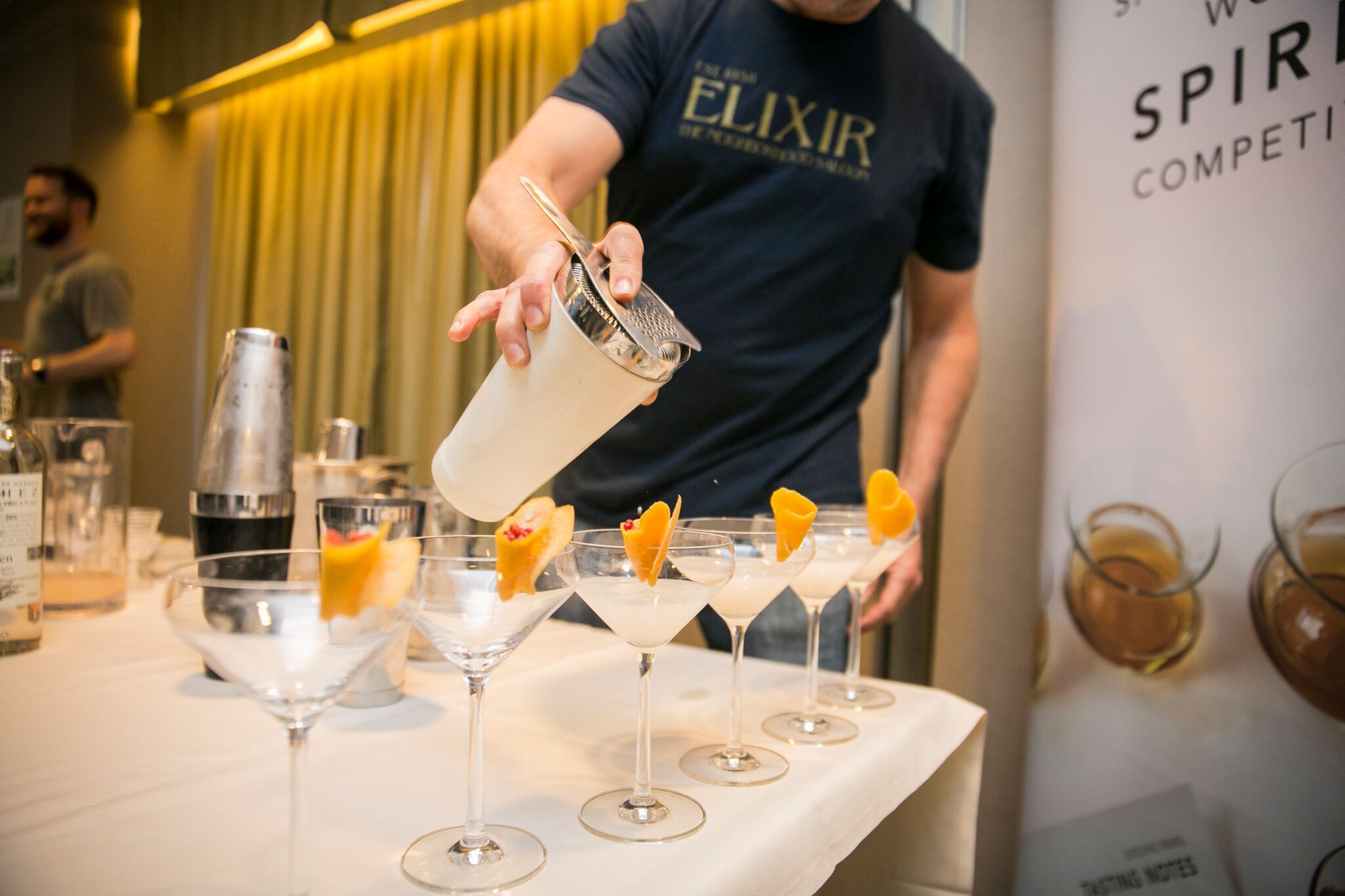 Mixing cocktails at the competition