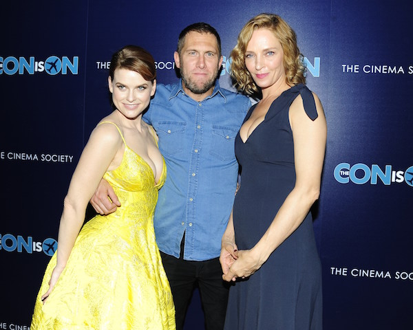"Alice Eve, James Haslam, Uma Thurman at the screening of ""The Con is On"" at The Roxy Cinema, New York, NY"