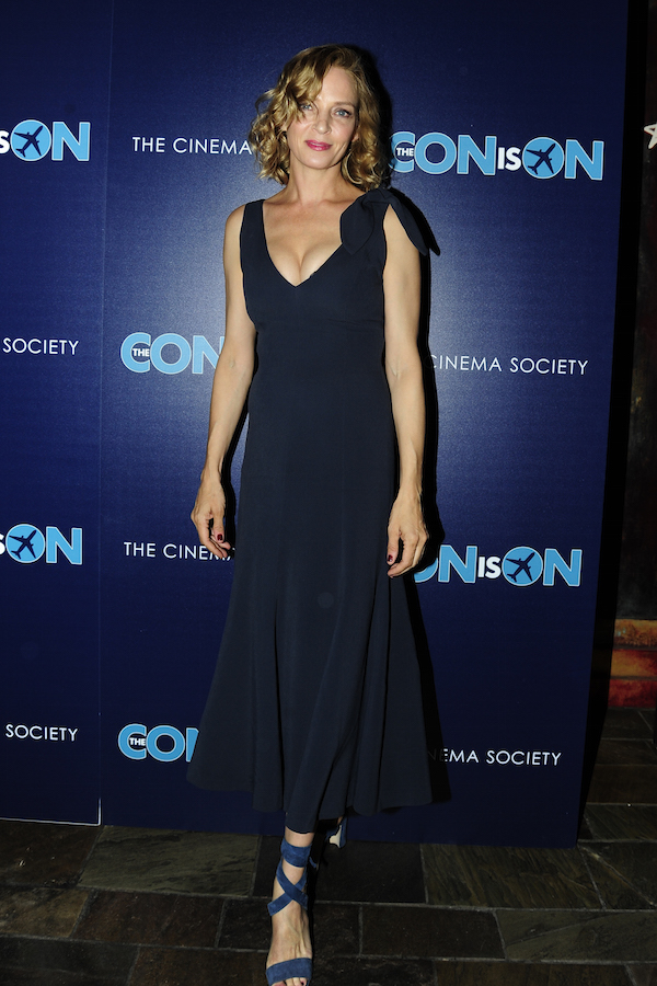 Uma Thurman celebrates The Con is On screening at The Roxy Cinema, NYC on May 2, 2018