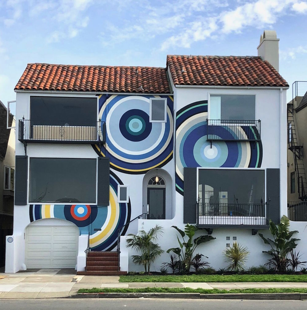 The outside of the house by Simon Breitbard Fine Arts in collaboration with artist AJ Oishi