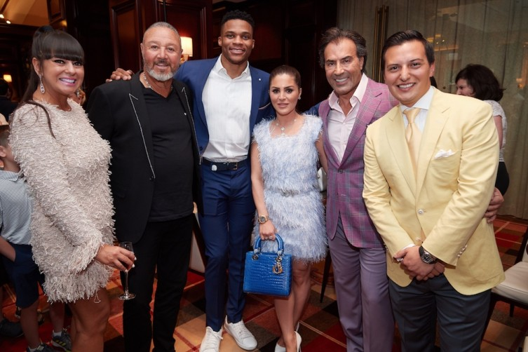 Susie & Richard Charlton, Russell Westbrook, Stephanie & Masoud Shojaee and Nicolas Bijan