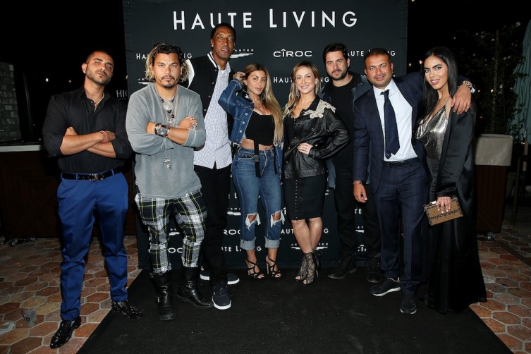 Sunny Gyani, Crime by Design, Scottie Pippen, Larsa Pippen, Claudia Leitte, Marcio Pedreira, Kamal Hotchandani, and Deyvanshi Masrani attend the Haute Living Celebrates Maluma with JetSmarter and Ciroc at The Highlight Room at the Dream Hollywood on May 15, 2018 in Hollywood, California. (Photo by Phillip Faraone/Getty Images for Haute Living)