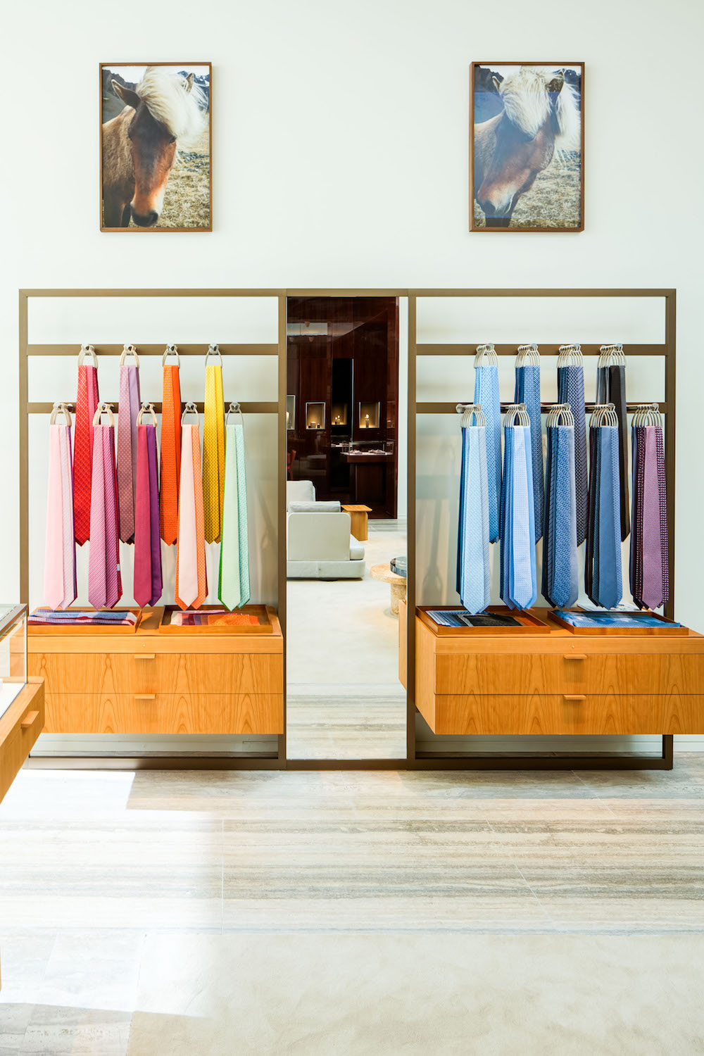 Ties on display in the new boutique