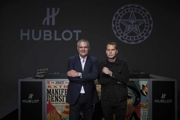 Hublot CEO Ricardo Guadalupe with Shepard Fairey at Mack Sennett Studios
