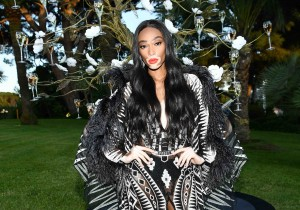 Winne Harlow attends the cocktail at the amfAR Gala Cannes 2018