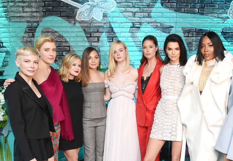 (L-R) Michelle Williams, Greta Gerwig, Ava Phillippe, Maddie Ziegler, Elle Fanning, Doutzen Kroes, Kendall Jenner, and Naomi Campbell attend the Tiffany & Co. Paper Flowers event and Believe In Dreams campaign launch on May 3, 2018 in New York City