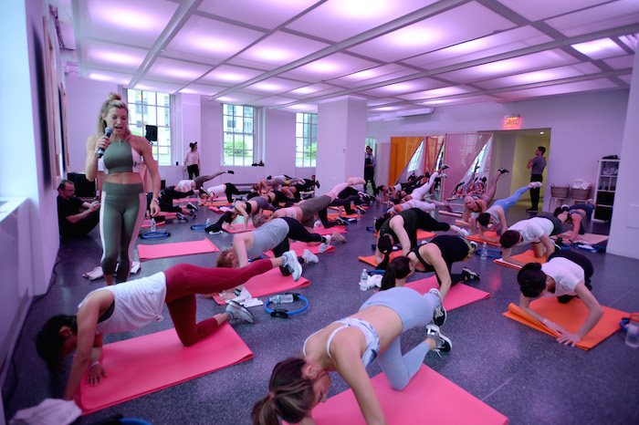 Lauren Duhamel leads a Bandier fitness class at the Launch of Ketel One Botanical