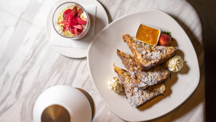 Almond French Toast with Mascarpone Cream and Orange Perserve