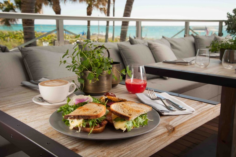 Fried Egg Sandwich, Fresh pressed Watermelon Juice, Cafe Luxx Capucino Malibu Farm