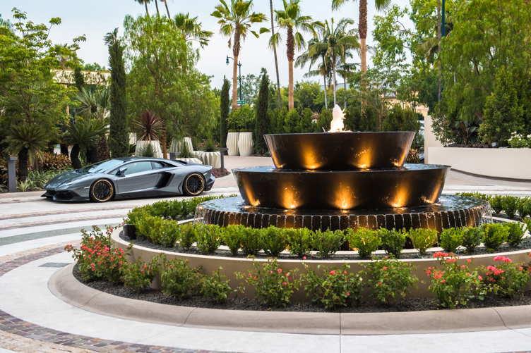 An Aston Martin outside the Waldorf Astoria Beverly Hills