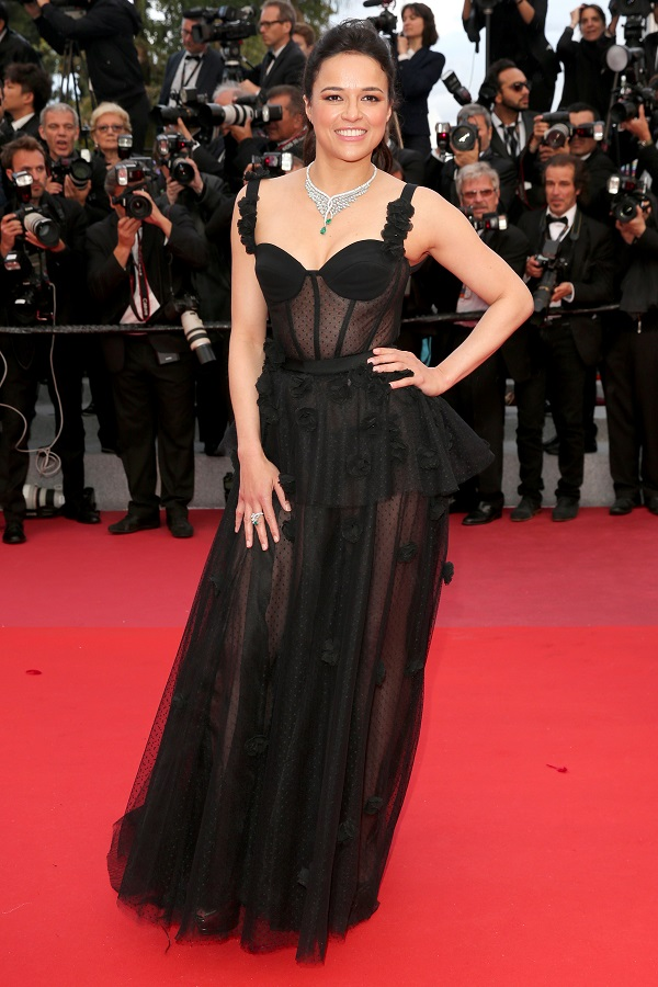 """CANNES, FRANCE: Michelle Rodriguez attends the screening of """"Blackkklansman"""" during the 71st annual Cannes Film Festival at Palais des Festivals on May 14, 2018 in Cannes, France."""