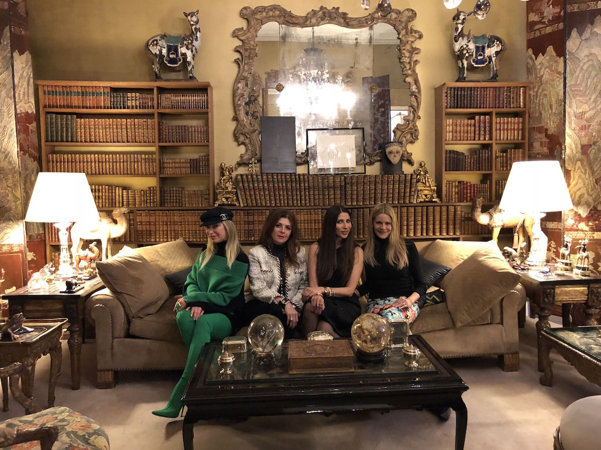 Molodetskaya and her gal pals, Farah Makras, Sobia Shaikh, and Mary Beth Shimmon sit on Coco Chanel's couch