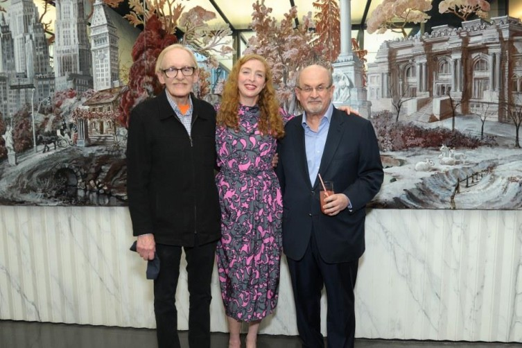 Peter Schjeldahl, Rachel Feinstein, Salman Rushdie / Photo Credit: Patrick McMullan