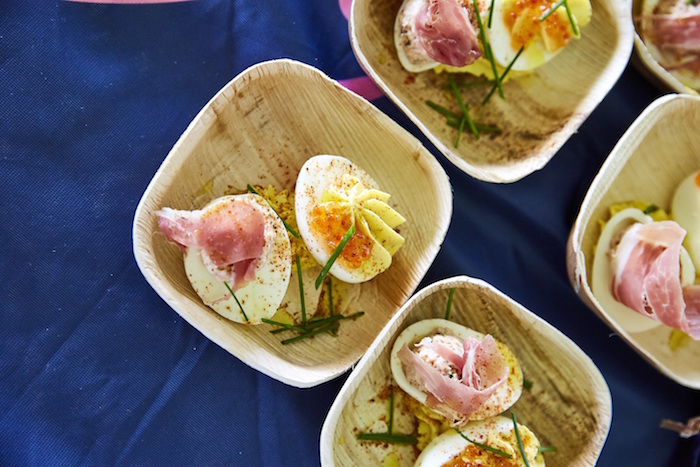 Deviled Eggs with Country Ham Salad prepared by Matt Abdoo of Pig Beach and Pig Bleecker at the James Beard Foundation's Chefs & Champagne® annual summer fundraiser at Wölffer Estate Vineyard in the Hamptons on July 29, 2017