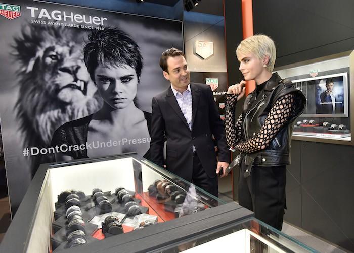 Kilian Muller and Cara Delevingne attend a celebration of TAG Heuer brand Ambassador Cara Delevingne's new campaign