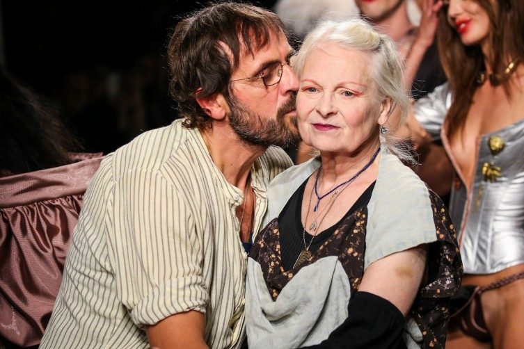 Designer Andreas Kronthaler and Vivienne Westwood at the spring 2017 runway show in Paris