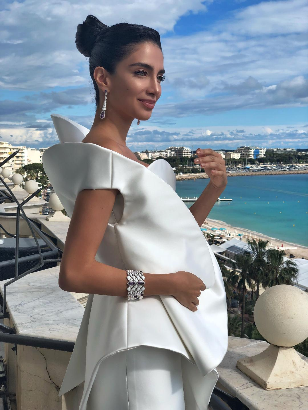 "Model and Humanitarian Jessica Kahawaty chose Avakian at the 71st Cannes Film Festival for the premiere of ""Blackkklansman"""