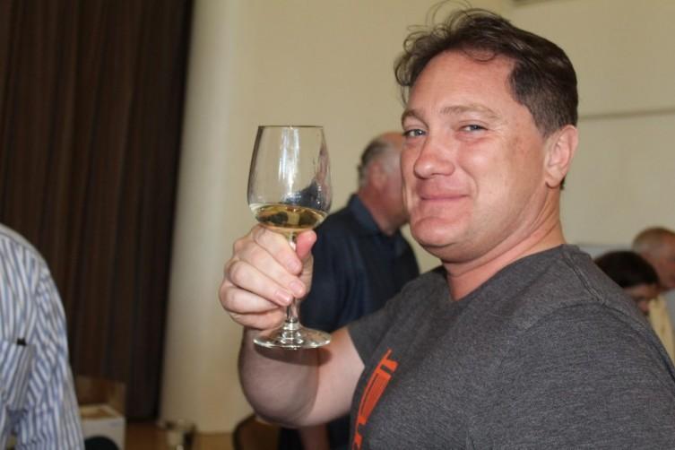 Celebrity Liam Mayclem enjoying the wines.