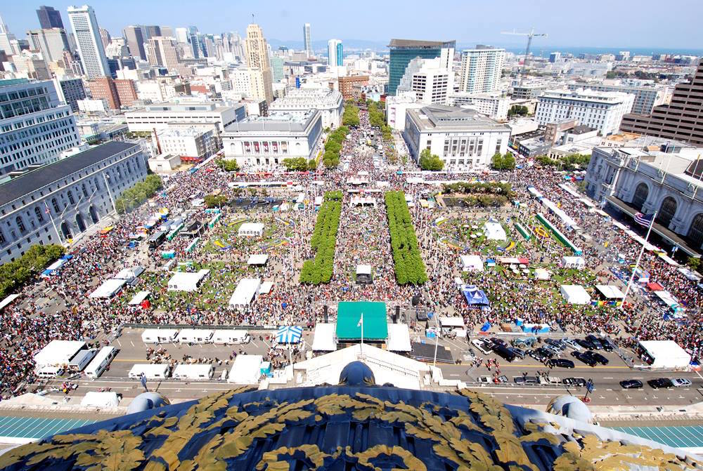 A bird's eye view of Civic Center during a past Pride