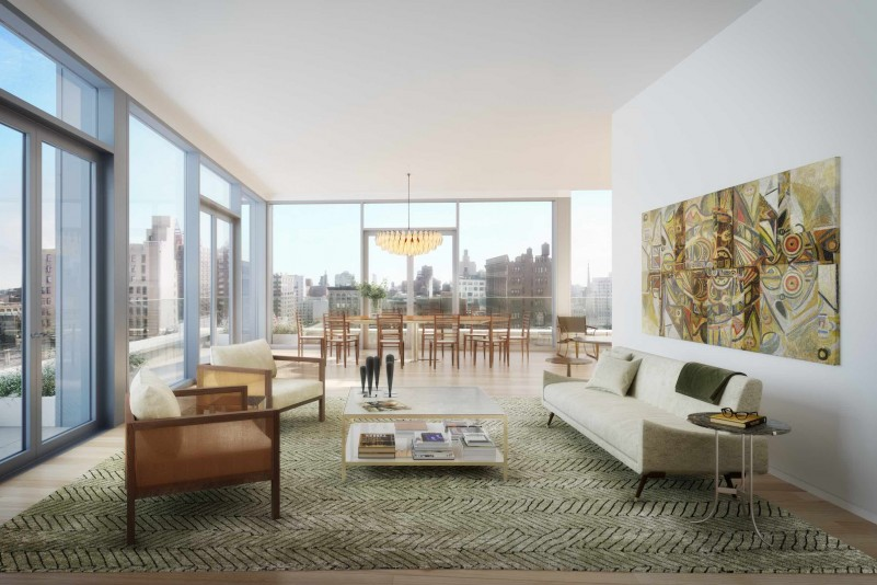 21 East 12th Penthouse Living Room