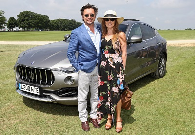 TETBURY, ENGLAND - JUNE 10: Maserati Royal Charity Polo Trophy 2018 – Richard Hammond and Mindy Hammond with the Maserati Levante SUV attend the Maserati Royal Charity Polo Trophy 2018 at Beaufort Polo Club on June 10, 2018 in Tetbury, England.