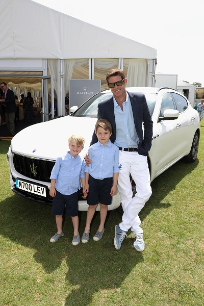 TETBURY, ENGLAND - JUNE 10: Maserati Royal Charity Polo Trophy 2018 – Malcom Borwick, Jaime Borwick and Lucas Borwick with the Maserati Levante SUV attend the Maserati Royal Charity Polo Trophy 2018 at Beaufort Polo Club on June 10, 2018 in Tetbury, England.